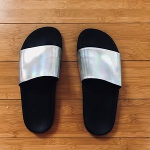 LF Stores Jeffrey Campbell Holographic Sandals